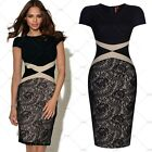 Women Black Vintage Cocktail Party Casual Work Wear Lace Floral Pencil Dresses