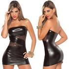 Various Figure Hugging Wet Look Mini Tube Dress With Sheer Sequinned Panels Pvc