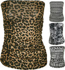 New Womens Animal Aztec Print Strapless Ruched Boob Tube Ladies Bandeau Top 8-14