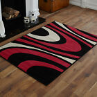 NEW  LARGE BLACK RED CREAM CURLY PATTERN MEDIUM MODERN SMALL BEST QUALITY RUGS
