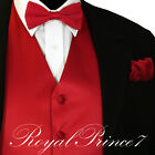 Men's Formal Tuxedo Suit Dress Vest Waistcoat & Straight Cut Bowtie & Hankie Red