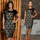 Womens Elegant Vintage Bodycon Pencil Cocktail Evening Party Short Mini Dresses
