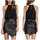 STON Women Sleeveless Halter Chiffon PU Irregular Cutting Skirt Club Sexy Dress