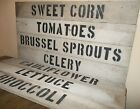 """PRIMITIVE 30"""" WOOD Produce Farm Stand Sign Country Kitchen Garden Deco Food Sign"""