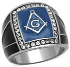 Mens Ring Masonic Stainless Steel Blue LTK1612E Size 8 to 13 P R T V W  Z+1