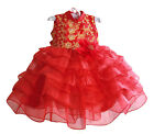 Girls Party Wedding Evening Ruffle Dress, Chinese Near Year Age 2 3 4 5 6 RED