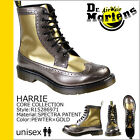 Dr. Martens Women's Harrie Brogue Pewter Gold Spectra Patent