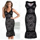 Women Sexy Cocktail Evening Party Elegant Mermaid Wedding Floral Lace Slim Dress