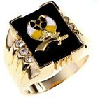 Mens 14k Yellow Gold Plated 2(ct) 3 Stone Shriners Ring