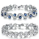 wedding 18k white gold plated clear crystal bracelet bride bangle cz stone blue