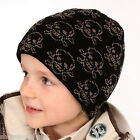 SALE: Junior Kids Lined Beanie Hat Black Skull Pirate Childrens Girls Boys