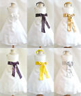 Ivory black brown gold silver yellow purple plum wedding party flower girl dress