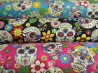 Mexican Day Of The Dead, Sugar Candy Skulls 100% Cotton Poplin Printed Fabric.