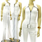 Classical White Jumpsuit Thin Stripes Halter Bootcut Long Pants Overall Stretch