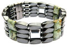 Men's Magnetic Hematite AFRICAN TURQUOISE SILVER Bracelet Anklet STRONG 4 row