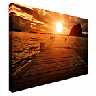 Sunset Jetty on Sunset Canvas Art Cheap Wall Print Home Interior