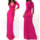Sexy HOT PINK Rayon/Spandex Jersey MAXI DRESS Faux Wrap LONG Skirt BOHO S-M-L
