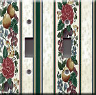 Light Switch Plate Cover - Fruit roses stripe - Kitchen dining room dinner deco