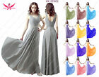 Chiffon Long Shoulder Straps V-neck A-line Lace Back Wedding Bridesmaid Dresses