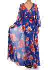 XL * BLUE FLORAL FULL SWEEP Chiffon MAXI DRESS Wrap Gown SHEER Long CRUISE vtg