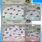DISNEY BABY CUTE HAT & SCRATCH MITTS SET ONE SIZE BLUE MICKEY PINK MINNIE MOUSE