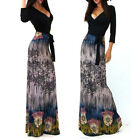 BOHEMIAN BLACK TOP & PRINT SKIRT Jersey MAXI DRESS Faux Wrap X-Long BOHO S M L
