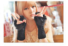 Women Faux Rabbit Fur Hand Wrist Winter Warmer Fingerless Long Mitten Gloves Z