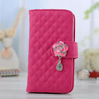 Luxury Leather Crystal Wallet Flip Stand Case Cover for Samsung Galaxy S3 S4 S5