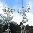 NEW AND BOXED GLITTERY SILVER / GOLD ANGEL WIND CHIME HANGING GARDEN MOBILE