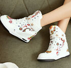 2015 Womens Hidden Wedge Heels Lace Up High Top Sneakers Graffiti Ankle Boots