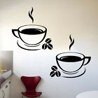 2 Coffee Cups Kitchen Wall Stickers Cafe Vinyl Art Decals (fcc02)