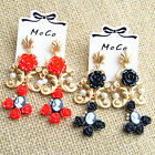 Women Lovely Floral Drop Dangle Pearl Party Wedding Cocktail Pierced Earring C