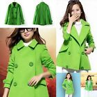 1x Candy Green Woolen Double-breasted Womens Coat Winter Overcoat Jacket Outwear