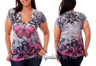 T136 PINK RHINESTONE BUTTERFLY SUBLIMATION T- SHIRT WOMENS SIZE S M L