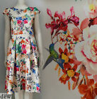 VINTAGE 1950's tropical FULL SKIRT dress BIRD print floral WEDDING pin up 8-20
