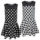 GIRLS POLKA DOT SKATER DRESS KIDS SLEEVELESS NET TOP PARTY CASUAL SIZE 3-14 YEAR