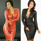 Fashion Women Dress Plunging V Neck Long Sleeve Party Club Bodycon Pencil Dress