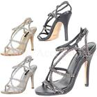 Dixie Mid High Heel Diamante Strappy Evening Bridal Shoes Sandals Size  Womens