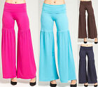 Palazzo pants ruffled solid  wide leg Pant yoga casual party high waist S M L