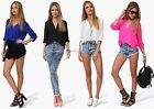 Sexy Women's Loose Chiffon V-Neck Tops Long Sleeve Shirt Casual Blouse Casual