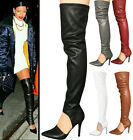 Ladies PU Leather Stretch Point Toe Hollow Out Over Knee Boots Stilettos Sandals