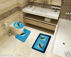 Bath Mat Toilet Rug Set 2 & 3 piece Non-Slip Bathroom Pedestal Toilet Washable