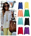 Hot Women's Fashion Lace Long Sleeve Slim fit T-shirt Casual Blouse Tops