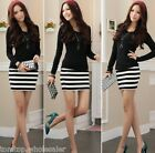 New Sexy Women's Dress Casual Long Sleeve Stripe Party Slim Fit Mini Dress S-XL