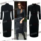 Women's Black Celebrity Slim Fit Workwear Business Stretch Bodycon Pencil Dress