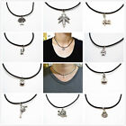 Men Women Creative Tibetan Silver Pendant Choker Necklace Black Leather Cord