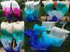 1set sturdy white~various colors 1.8m*0.9m belly dance silk fan veils+carry bag.