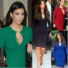 NEW Women's Sexy V-neck Buckle Dress Long Sleeve Bodycon Evening Dress Skirt