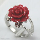 Red Acrylic Rose Flower 18KWGP Ring Size: 6.7.8.9