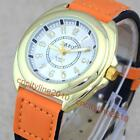 New 2 Color Stitching Strap Golden Numeral Leather Band Women Quartz Watch Gift